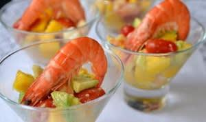 Verrines sucrées-salées aux crevettes