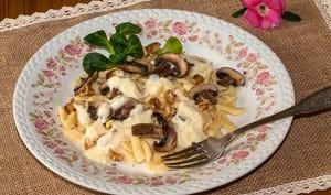 Spätzle aux champignons, crème de Munster au Riesling
