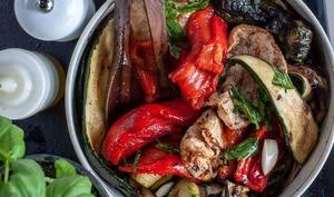 Salade de courgettes, aubergines et poivrons grillés