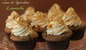 Cupcakes chocolat coeur de spéculoos