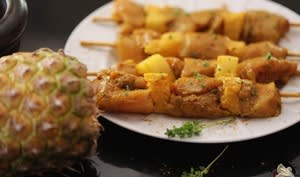 Brochettes poulet ananas au curry