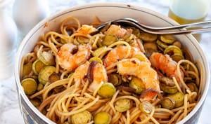 Pâtes courgettes et crevettes