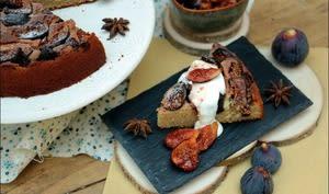 Gâteau aux figues, au yaourt et aux amandes