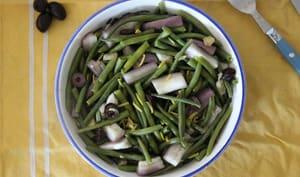 Salade de haricots verts, aubergines, citron et olives
