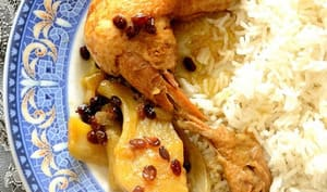 Poulet iranien au safran, fenouil et épine-vinette