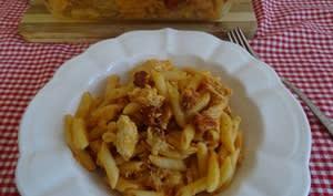 Gratin de pâtes au poulet et chorizo, sauce tomate