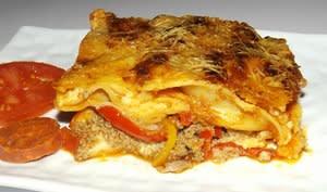 Lasagnes Basques aux tomates, poivrons, chorizo et Ossau Iraty