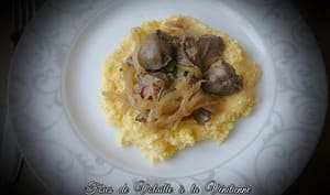 Foies de volailles à la vénitienne, polenta crémeuse