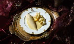 Poulette à l'Albufera, légumes au pot