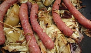 Saucisses, panais et pommes au four de Jamie Oliver