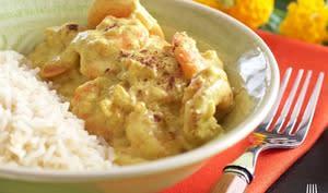 Curry de crevettes, coco, banane