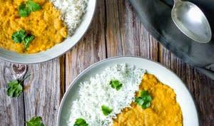 Dhal ou curry de lentilles corail et pois chiches
