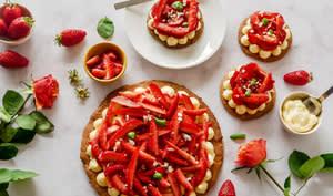 Tarte aux fraises, au basilic avec un caramel de balsamique
