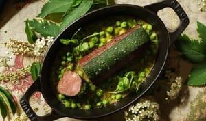 Printanière de brocard aux pois verts