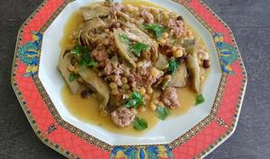 Fregola sarde aux artichauts et saucisse