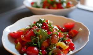 Tomates multicolores et groseilles en salade