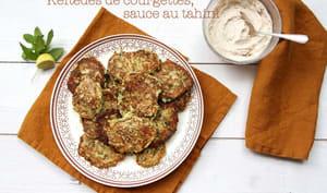 Keftedes de courgettes, sauce au tahini