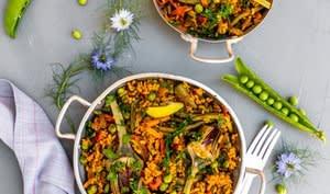 Paella vegan aux petits légumes
