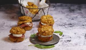 Muffins burger tomate confite jambon mozza