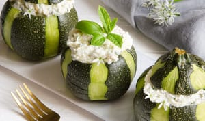 Courgettes cottage cheese chèvre basilic