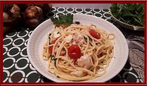 Filets de merlan, spaghettis, tomates cerise