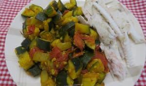 Sole au court-bouillon et légumes au curcuma