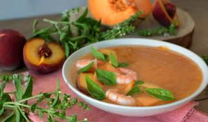 Gaspacho aux pêches, melon et tomates