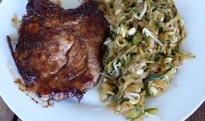 Côte échine de porc et sa marinade asiatique à la plancha