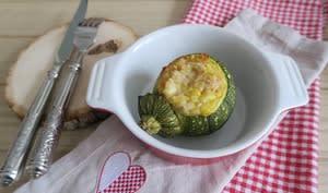 Courgette ronde farcie aux flocons d'avoine et cancoillotte