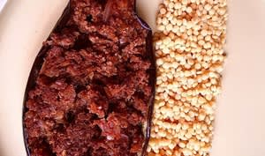 Aubergine farcie à la viande hachée