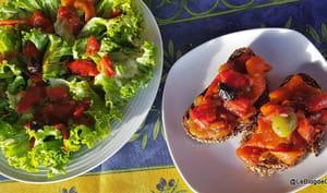 Poivrons grillés et sauce tomate basilic