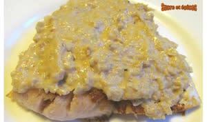 Filets de perche grillés sauce à la Vache qui rit, moutarde et vin blanc