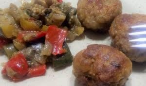 Boulettes de viande aux pois chiches et poêlée de légumes d'été