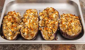 Aubergines farcies aux sardines et à la semoule