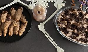 Soupe d'oeil, cimetière chocolaté et doigts de zombies d'halloween