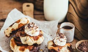Gaufres au chocolat et vanille