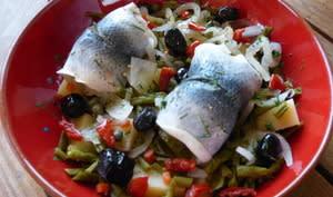Salade aux pommes de terre, haricots verts et rollmops
