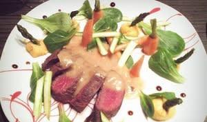 Filet d'autruche, sauce riesling, écrasé de patates douces