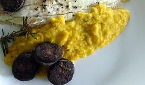 Polenta, boudin et poisson