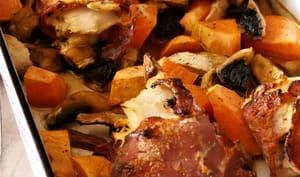 Merlu roulé dans jambon et ses petits légumes champignons-patate douce