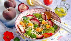 Salade sarrasin pêches et tomates