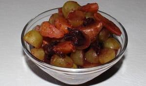 Salade de raisins, clémentines, oranges et prunelles