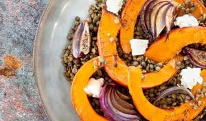 Potimarron rôti aux lentilles et au gorgonzola