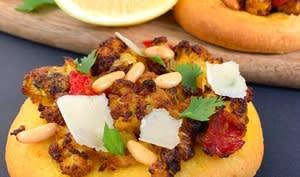 Sfiha ou pizza arabe au chou-fleur