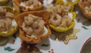 Tartelettes fromage au saumon et crevettes grises