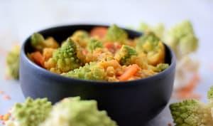 Chou romanesco lentilles corail et carottes