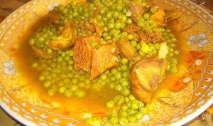 Tajine de veau aux petits pois et artichauts à la marocaine