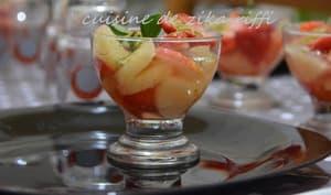 Verrines de fruits orange fraise et jusde citron