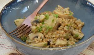 Risotto de petit épeautre, artichaut et champignons