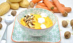 Potage potimarron, carottes et chèvre